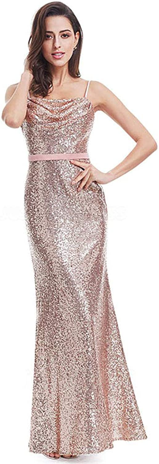 CG Sheath Column Cowl Neck Spaghetti Straps FloorLength Evening Dress with Sequined Sashes Ribbons E447EH25