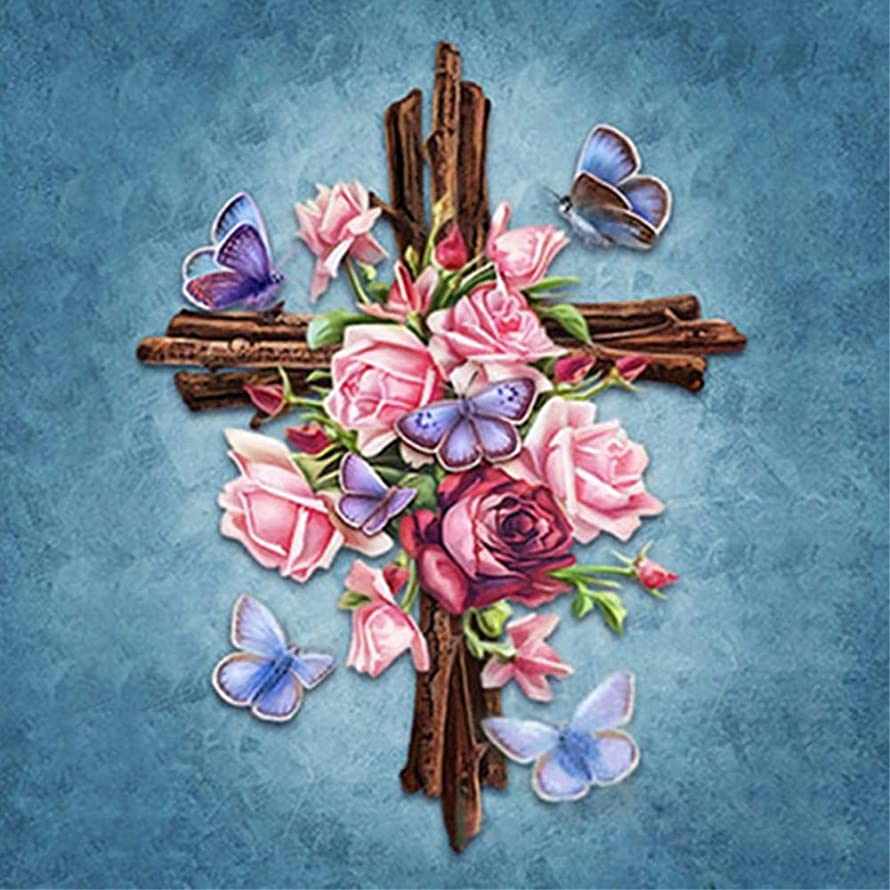 Flower Butterfly Cross Diamond Painting - PigBoss 5D Full Diamond Embroidery Religion Cross Diamond Dots Kits Home Decor Art Gift (11.8 x 15.7 inches)