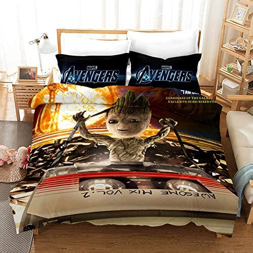 YOMOCO The Avengers Bettbezug Bettwäsche Set - Bettbezug und Kissenbezug,Mikrofaser,3D Digital Print dreiteiliger Bettwäsche (09,Single 135x200cm)