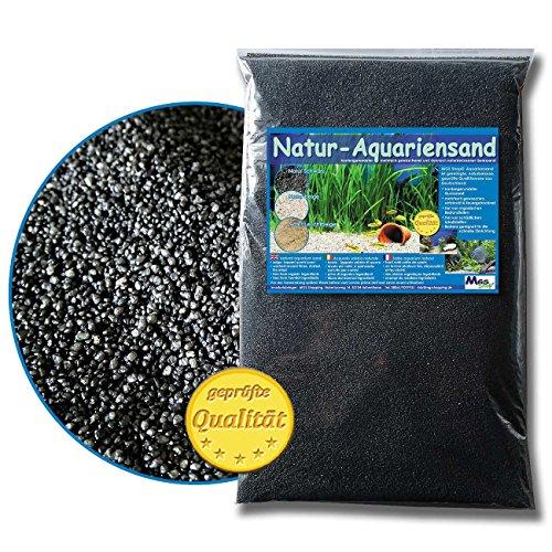 MGS SHOP Aquariensand 5kg gerundet TIEFES Natur SCHWARZ geprüfte Qualität (Natur schwarz 0,6-1,2 mm)