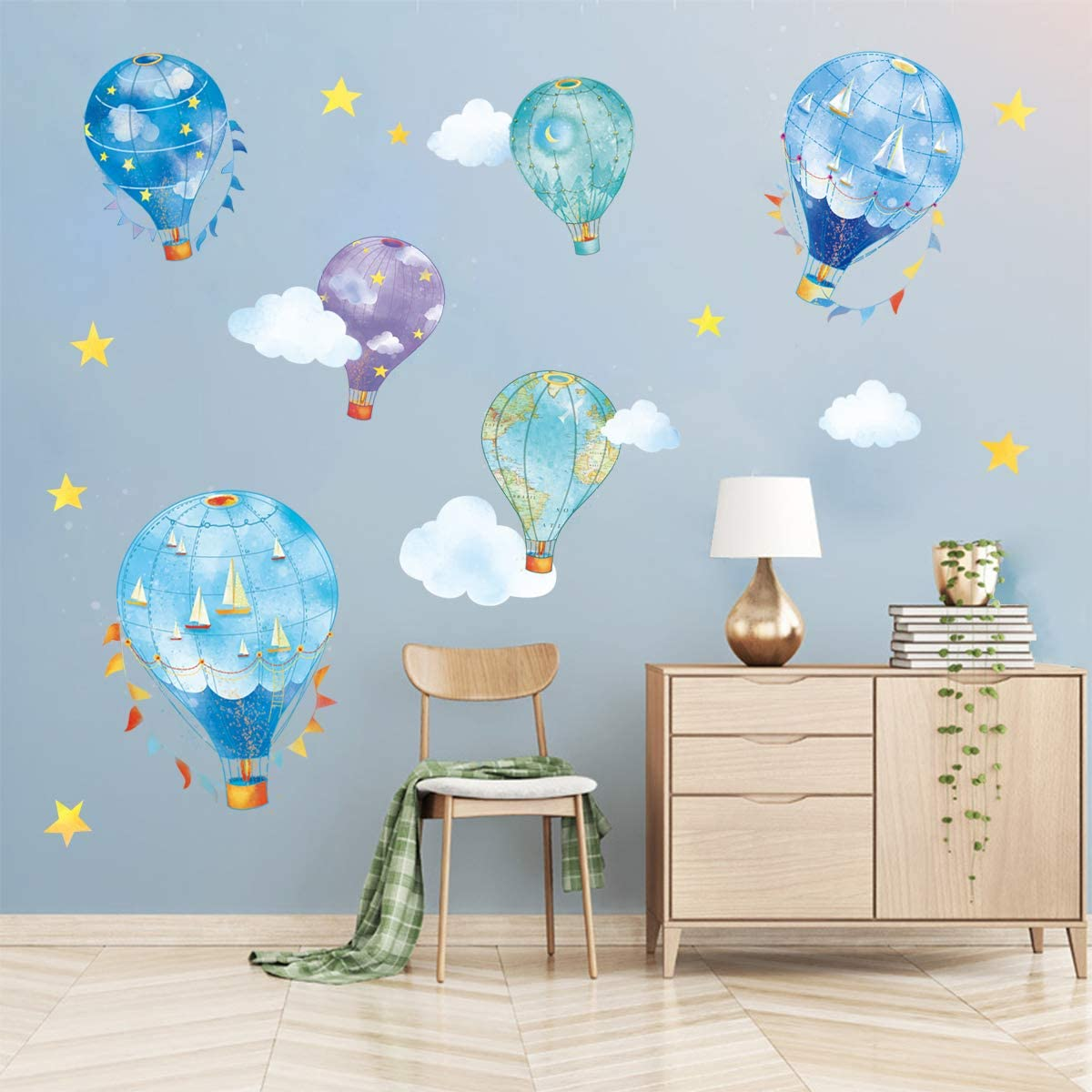 decalmile Inventory cleanup selling sale 6 Nautical Hot Air Balloons Cloud SEAL limited product Stars Decals St Wall