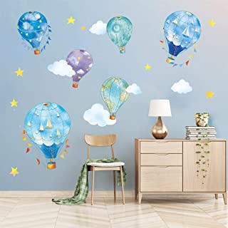 decalmile Nautical Hot Air Balloons Wall Decals Stars Cloud Star Wall Stickers Baby Nursery Kids Bedroom Wall Decor