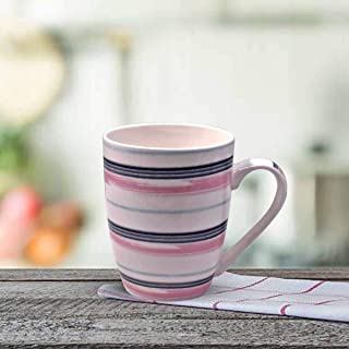 Kookee™ Ceramic Coffee Mug, Printed Lines Pattern - 325ml (4124-D) (Set of 6)