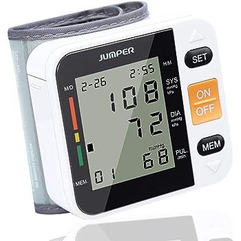 Jumper Monitor Automatico Della Pressione Sanguigna, Sfigmomanometro da Polso Digitale con Polsino Regolabile, Ampio Display LCD (Bianco)
