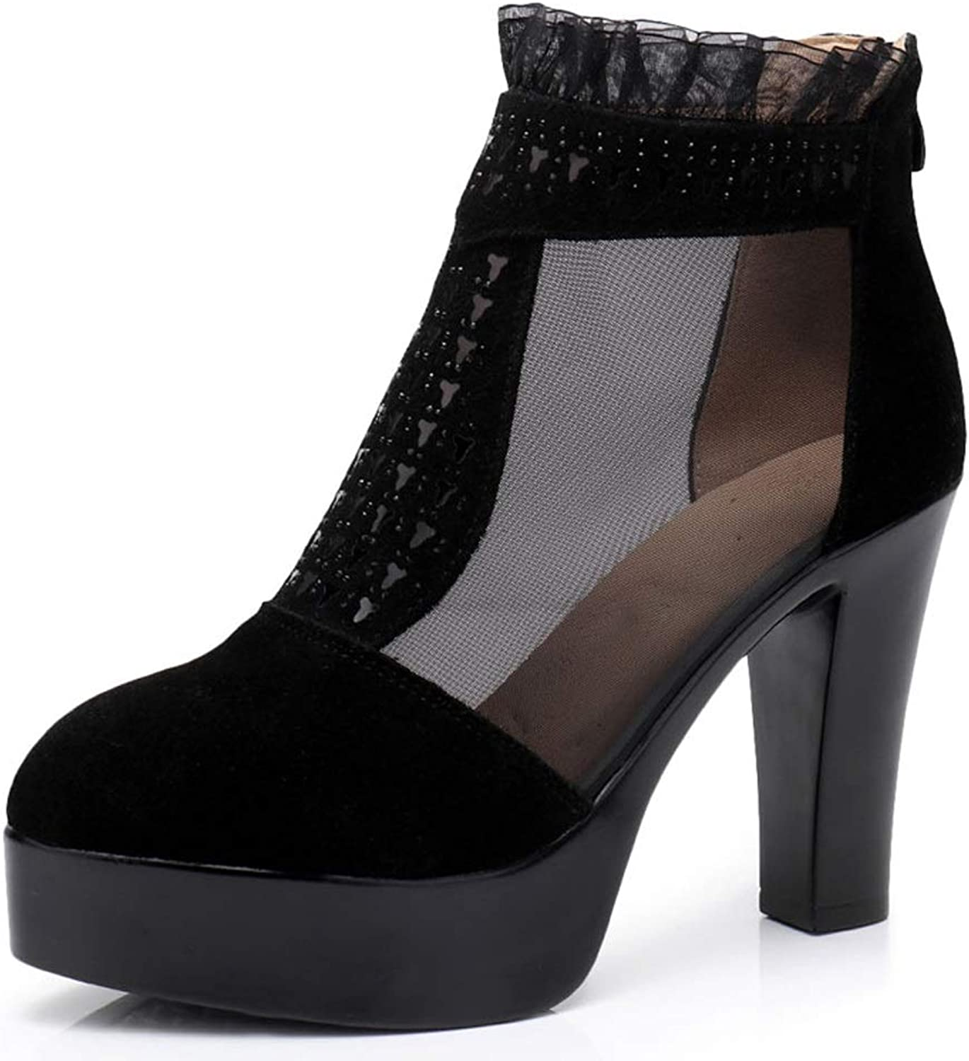 TARSHIN Single shoes Spring and Autumn Hollow High Heel Lace Nubuck Leather Mesh Boots