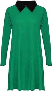 MA ONLINE Ladies Fancy Peter Pan Collar Flared Swing Dress Womens Long Sleeve Skater Dress