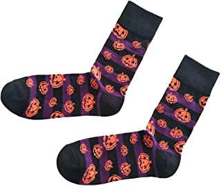 Unisex Adult Crew Socks Orange Pumpkin Bats Pattern Ankle Sock Cotton Non Slip Warm Sports Socks Novelty Halloween Cosplay Costume Accessories Props