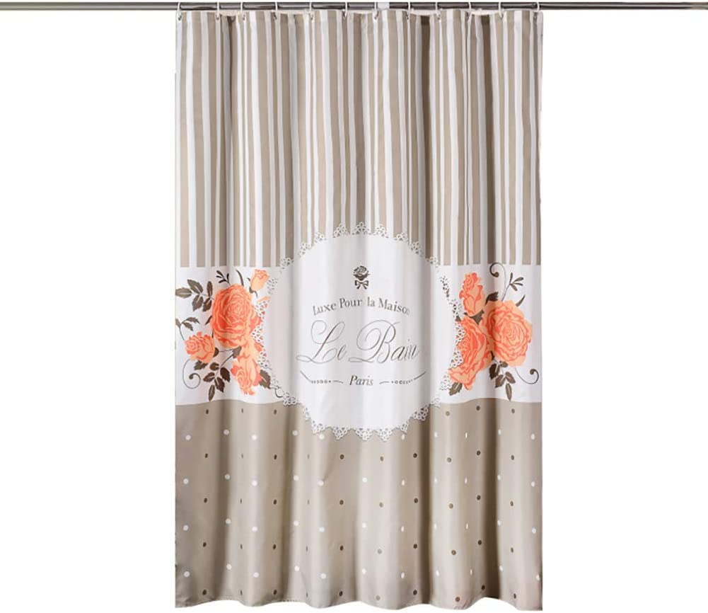 Bling Fabric Floral Brand Cheap Sale Venue Shower Curtain with Hooks 12 Decorati SALENEW very popular Stripe