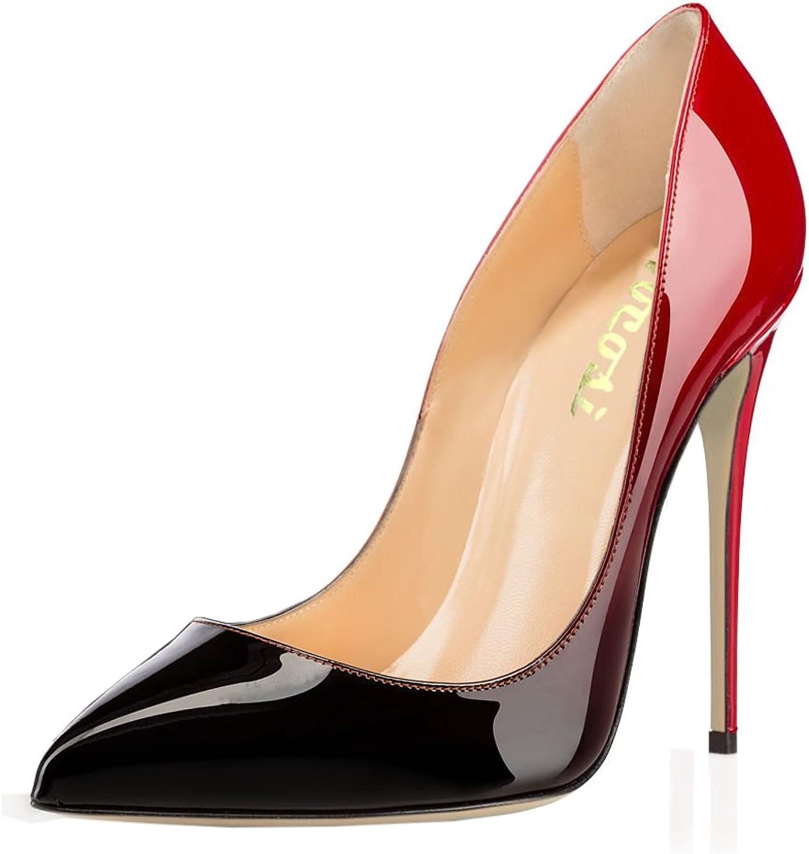 VOCOSI Women's Zej Gradient Pointed Toe Stiletto Patent Leather Dress shoes Pumps Red-Black 15 US
