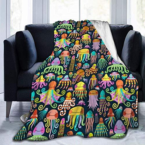 Manta de forro polar con pulpo arcoíris de 152 x 200 cm, lujosa manta de felpa suave para sofá, mantas y mantas de TV reversibles, fácil cuidado, otoño invierno y primavera