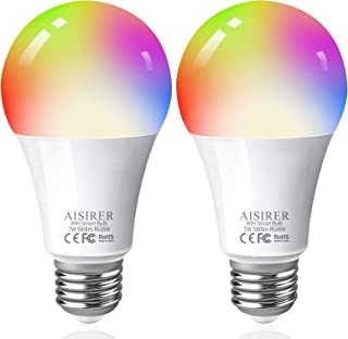 AISIRER Smart Bulbs, 60 Watt Equivalent E26 Color Changing Light Bulbs A19 Smart LED Bulbs Compatible with Amazon Alexa, Google Home and Siri, No Hub Required, 2.4GHz WiFi (Not 5GHz), 2 Packs