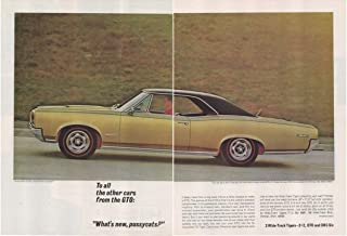 """Magazine Print Ad: 1966 Pontiac GTO, 2 + 2, OHC Six, 3 Wide Track Tigers,""""To All Other Cars From the GTO: What's New, Pussycats?"""", 2 pages"""