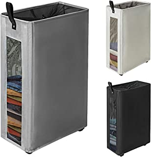 ZERO JET LAG 27 inches Slim Laundry Hamper Large Tall Laundry Basket on Wheels Clear Window Visible Dirty Clothes Hamper Thin Clothes Storage Standable Corner Bin Handy 16