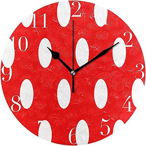 Meili Shop Reloj de Pared Redondo con Lunares Blancos y Rojos Reloj Decorativo de Oficina en el hogar Escuela Arte OneSize