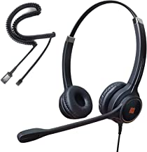 IPD IPH-255 Optimo-X Duo Ear Noise canceling,Corded headset for Call center,Office and Landline phones w U10P bottom cable w RJ9 jack works with Poycom VVX,Avaya,Nortel, Mitel and many other IP phones