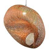 MODEBHD Iluminación Colgante de bambú Tejido, lámpara Colgante de Mimbre de ratán, lámpara Colgante de Techo con Pantalla de Nido de pájaro artístico con Cable Ajustable, para decoración de Bar