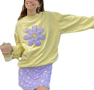 Sudadera con capucha Y2k para mujer, de gran tamaño, estilo vintage, de manga larga, cuello redondo, casual, suéter, prima...