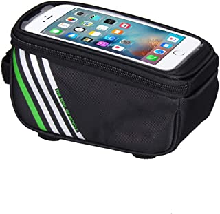 HEALTHLL 1.5L/ 5.5 Inch Waterproof Touch Screen Bicycle Bags Cycling Bike Front Frame Bag Tube Pouch Mobile Phone Storage Bag Black