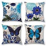 Artscope Housse de Coussin, Lot de 4 en Velours Papillon Bleu et Fleur Canapé Taie d'oreiller pour Maison Salon Chambre Décoration D'intérieur, 45x45cm