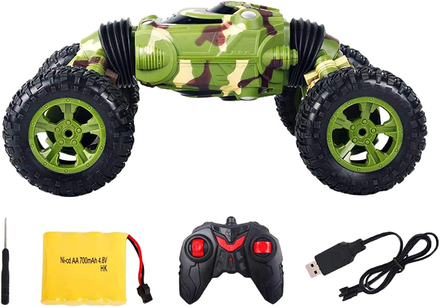 Homyl 1 16 4WD Double-Side RC Stunt Car Vehicle Toy Model Green for Birthday Gift