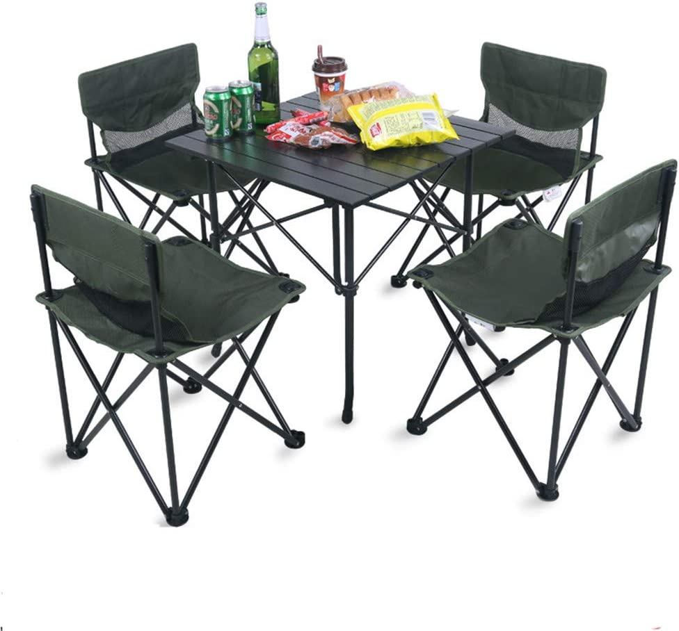 Mesa de patio con jardín de picnic Campamento para actividades al aire libre ligeros, portátiles, plegables, sillas de red fijadas con bolsa de transporte, 4 sillas + 1 mesa, tamaño compacto para acam