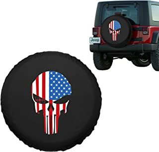 1PC 31-33 Black Wheel Tire Covers with American Flag Print for Cars Trailer Honda Toyota SUV Camper R17 ROCCS 17 Inch Jeep Wrangler Spare Tire Cover