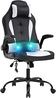 Vnewone Computer Gaming Chair Office PC Ergonomic Executive Desk Racing Rolling Swivel Task PU Leather with Lumbar Support Headrest Adjustable Armrest Massager, White