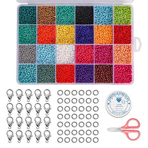 24000 Stücke Mini Glasperlen Run Farben Perlen zum Basteln 2 mm mit 24-Gitter Aufbewahrungsbox für Schmuckherstellung,DIY Armband Halskette Schmuck Machen Set