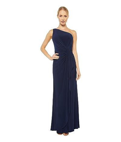 Adrianna Papell One Shoulder Jersey Dress (Midnight) Women