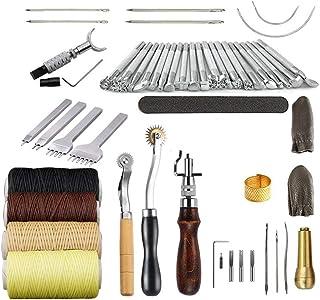 LAEMALLS Cuir Outil de Bricolage Kit, 34 Pièces Outils de Maroquinerie Main Couture Cuir Bricolage d'Artisanat, Kit de Gra...