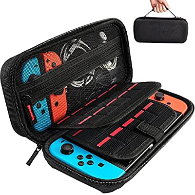 Hestia Goods Switch Carrying Case Compatible with Nintendo Switch, with 20 Games Cartridges Protective Hard Shell Travel Carrying Case Pouch for Nintendo Switch Console & Accessories, Black