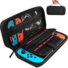 High Quality Case - High Quality Durable hard shell Protect your Nintendo Switch Console free from scratches. A Hook Loop Secures the Nintendo Switch inside the case (We have replaced two elastic straps with a Tab,It is a lot easier to put in and tak...