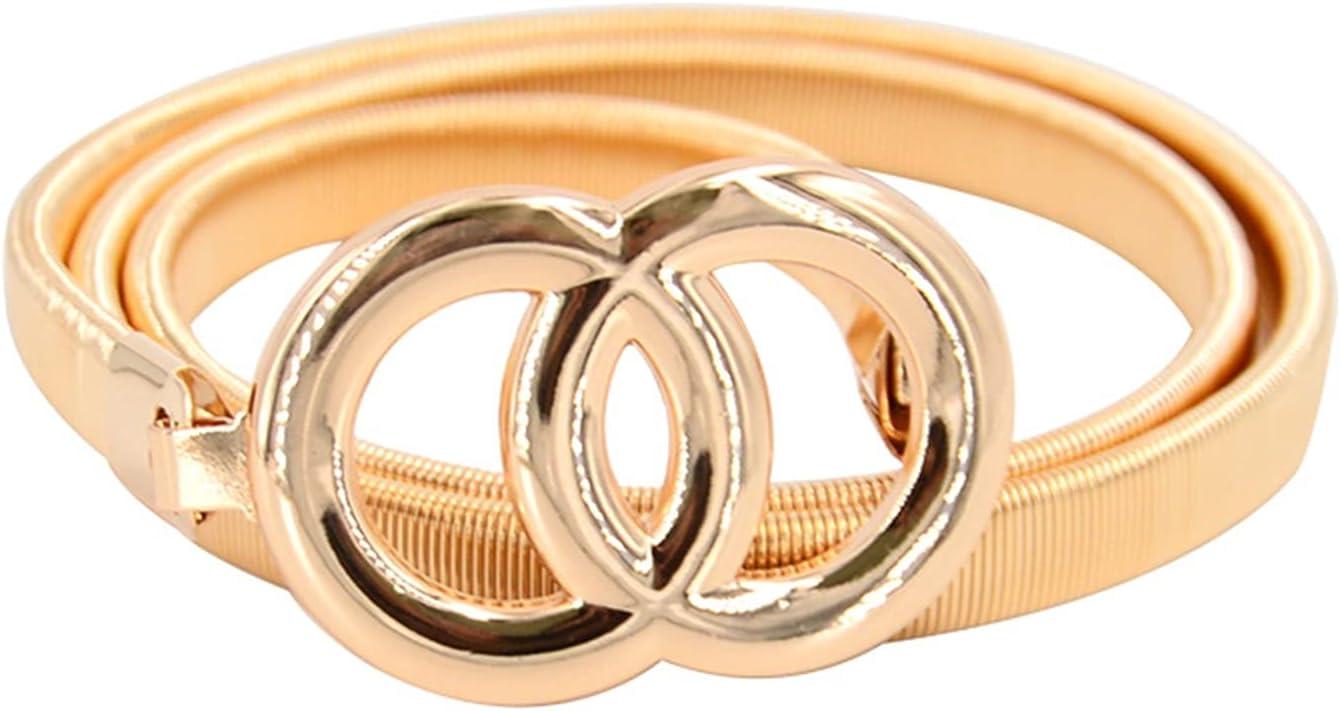 HONGJIU Women Gold Belt Skinny Metal Waist Opening large release sale Double Rings Overseas parallel import regular item Be Dress