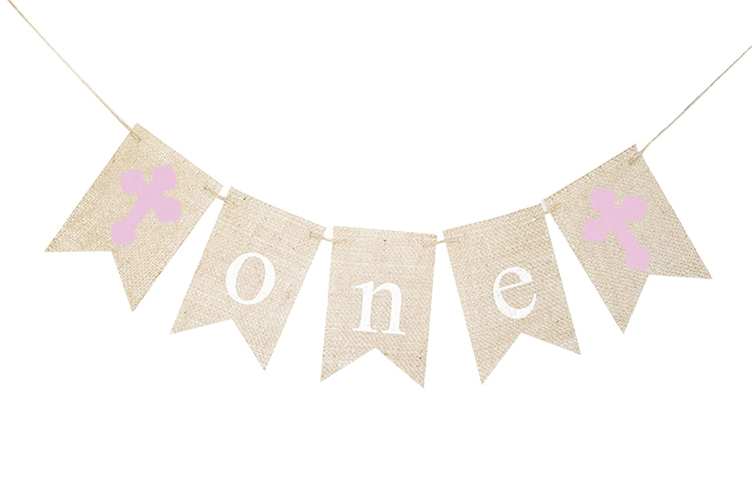 Houston Mall Pink Cross One Banner First Decor Max 51% OFF Birthday or Party Religious