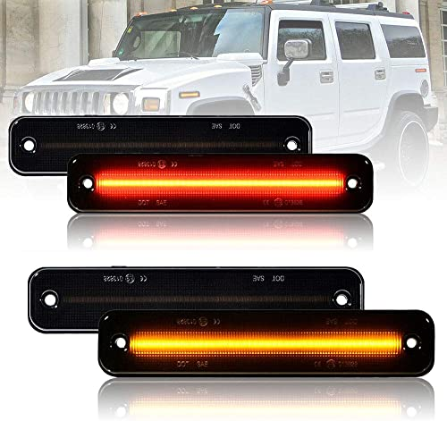 wholesale Set of 4 Smoked Side Marker Lights, LED Amber & Red Lights on Front & Rear, Replacement for popular Hummer 2003-2009 H2, Part Number 25952319 2021 15114677 (Smoked Lens) online