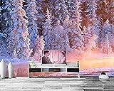 Papel De Parede Bosques de invierno Abeto Arroyo Nieve Naturaleza Foto Abeto Papel pintado, Sala de estar Sofá TV Pared Dormitorio Murales personalizados 350 cm × 245 cm