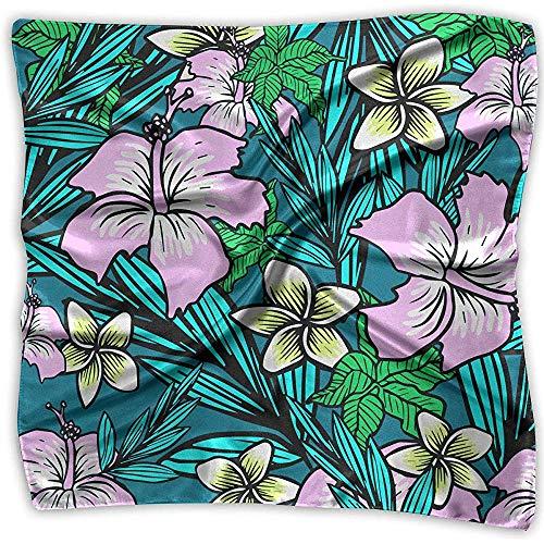 Uridy Flores tropicales Hibisco Mujeres Elegante Seda de satén suave Sensación Elegante Formal Cuello cuadrado Bufanda Cabeza Envolturas para el cabello