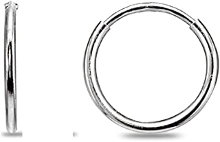 14K Gold Tiny Small 1.2mm Round Thin Lightweight Unisex Endless Hoop Earrings, 10mm