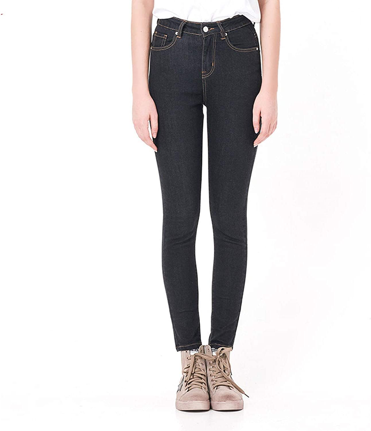 Alerghrg Jeans Woman High Elastic Plus Size Stretch Jeans Female Washed,Black,L,Russian Federation