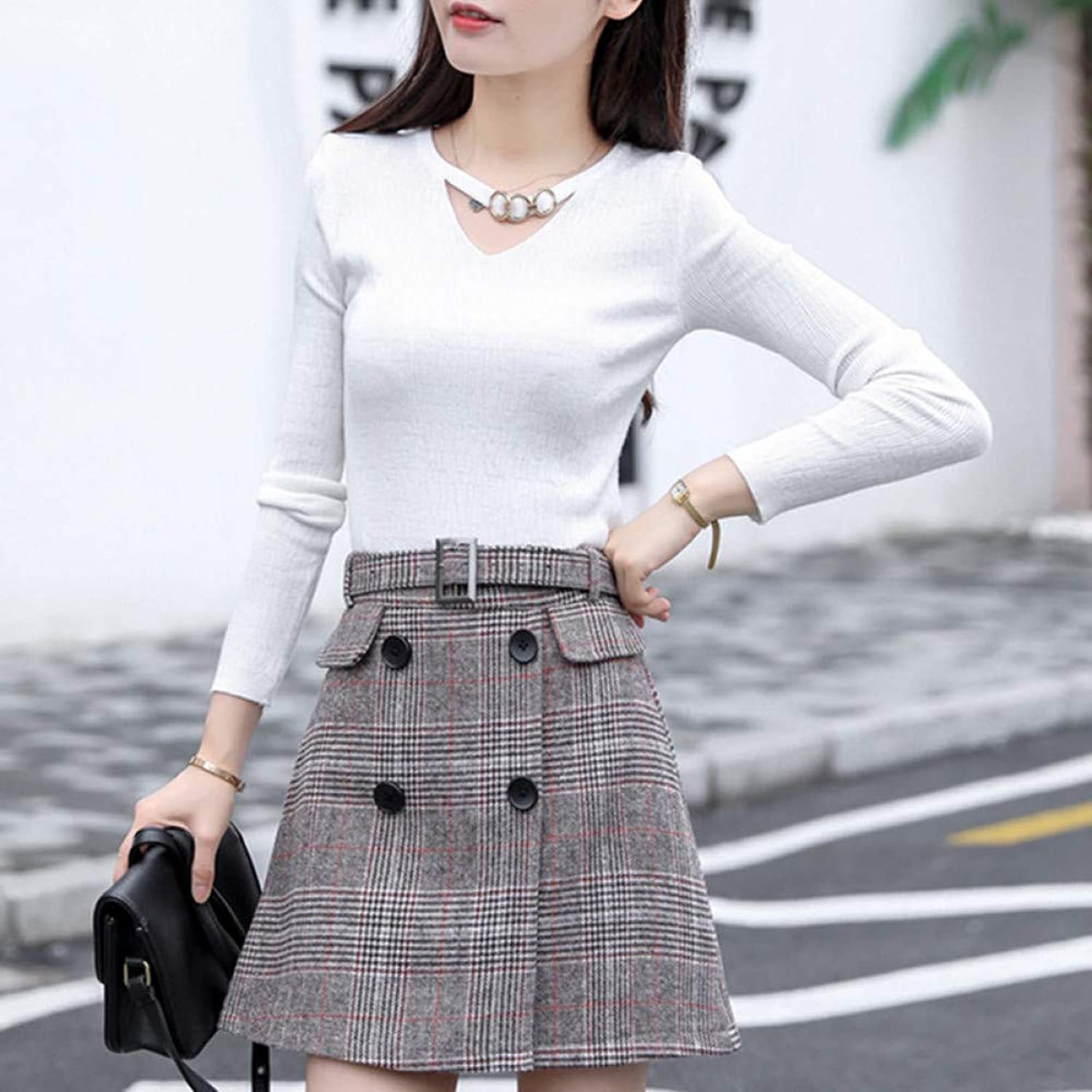 XIAOHUI Women Skirts Spring Autumn Fashion ALine Plaid Midi Skirt Female High Waist Woolen Skirt