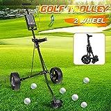 FFKL Chariot De Golf Caddy Réglable 2 Roues Push Pull Chariot De Golf en Alliage D'aluminium Chariot Pliable avec Frein,Black