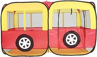 Heqianqian Baby tipi tält barn typ vikbar bärbar inomhus lektält leksak lekhus med buss leksak leksak för inomhus- och uto...