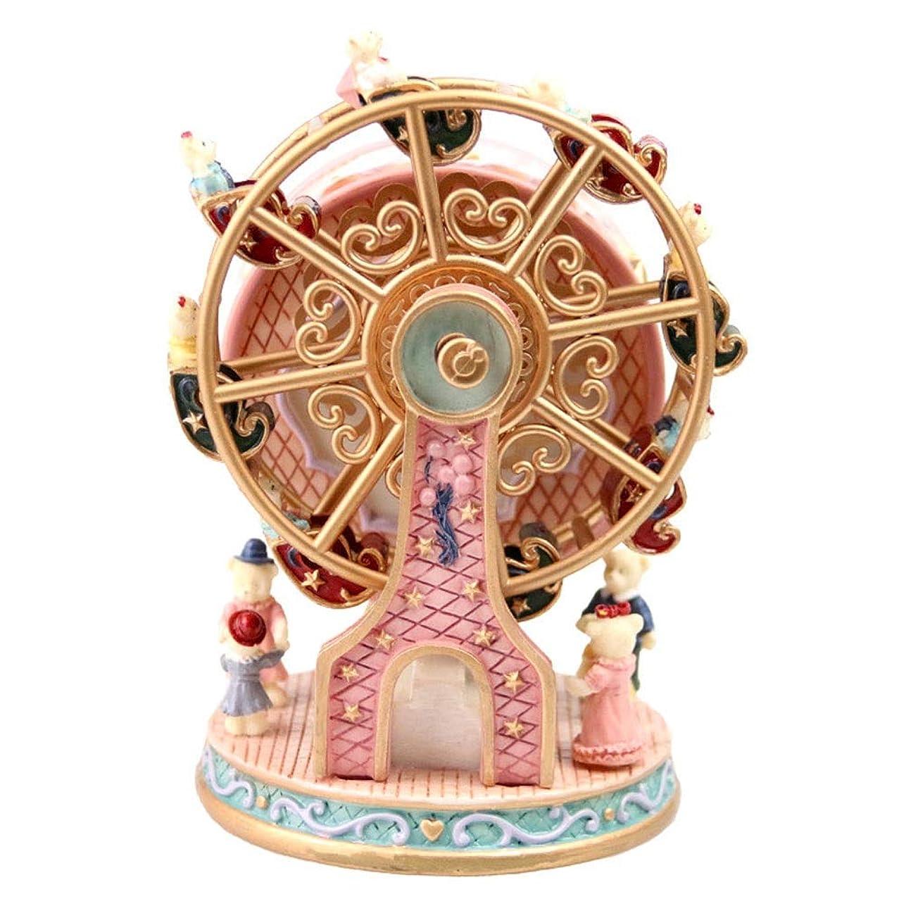 解決部門アプライアンスアート ヴィンテージ観覧車観覧車のオルゴールオルゴールウィニー樹脂の装飾品の家庭用家具のギフトパーソナライズされた誕生日プレゼントクリスマスプレゼント10 * 10 * 15センチメートル 飾る (色 : Pink)