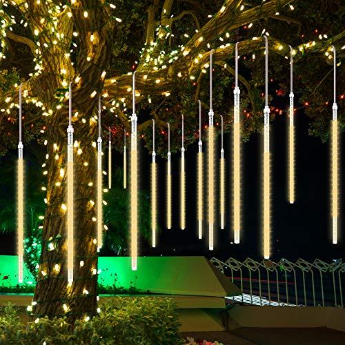 Meteorschauer Lichter, CrazyFire Fallende Lichter 50cm 10 Spiralröhren 480 LEDs, Wasserdicht Schneefall Lichterkette für Festival Hochzeit Garten Baum Dekoration (Warmweiß)