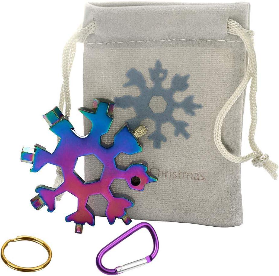 18-in-1 Snowflake Multi-Tool Screwdriver, Stainless Steel 18-1 Multitool Snow Tool,Best Christmas Gift for mens (Aurora) - -