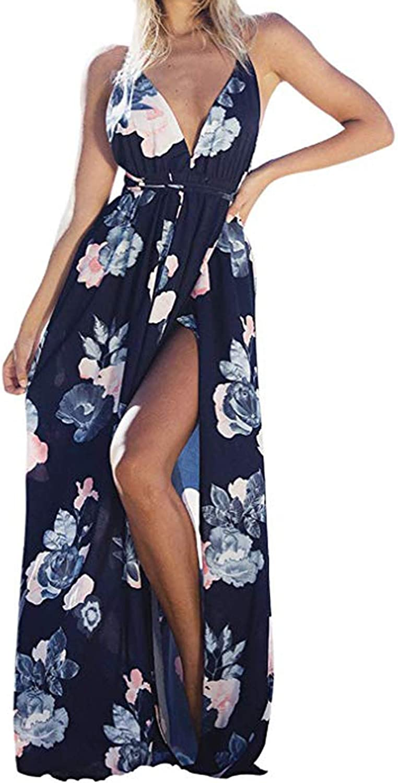 kenoce Women's Sleeveless Maxi Dresses V Neck Adjustable Spaghetti Strap Side Split Floral Summer Party Long Dresses