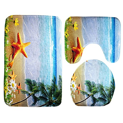 Moolecole Beach Seashells Starfish Sand Bath Mat Holidays Summer Bathroom Carpet Rug Non-Slip 3 Piece Toilet Mat Set Starfish Coconut Trees