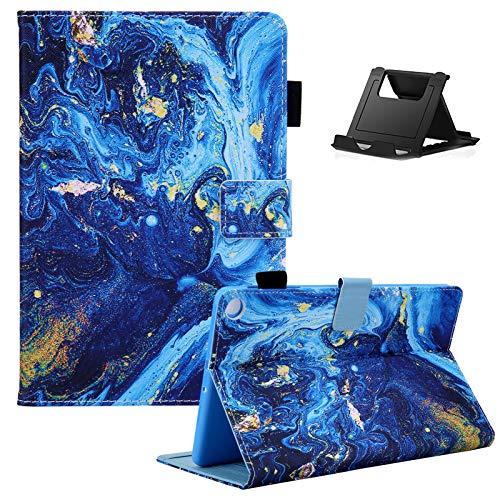 Shinyzone Tablet Hülle Kompatibel mit Samsung Galaxy Tab A7 2020 10.4 T500/T505/T507 mit Stifthalter,PU Leder Tasche Schutzhülle mit [Auto Schlaf/Wachen][Handy Ständer],Glitzer Blau Gold