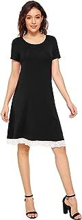 Women's Casual Knee Length Dress Lace Hem T-Shirt Dress with Pockets