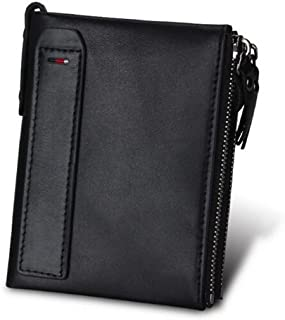 TT WARE Men's Vintage RFID Blocking Wallet Genuine Leather ID Card Holder Coin Pocket Purse-Black